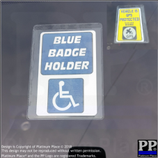 Disabled Blue Badge Card and Adhesive Holder & GPS Security Sign,Car,Notice